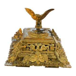 Victorian Jg&E Gilt Brass Inkwell For Sale
