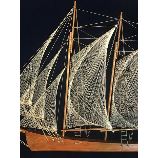 Americana Mid 20th Century Wood and String Ship Wall Decor For Sale - Image 3 of 6