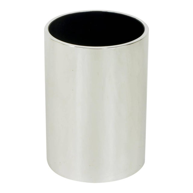 Dado Industrial Design S.P.A Italian Chromed Heavy Steel Cylinder Vase For Sale