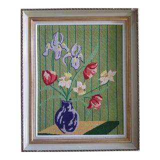 1980s Vintage Floral Still Life Needlepoint For Sale
