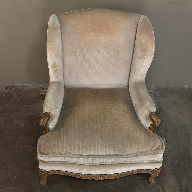 Antique French Walnut Louis XV Wingback Armchair For Sale In Dallas - Image 6 of 13