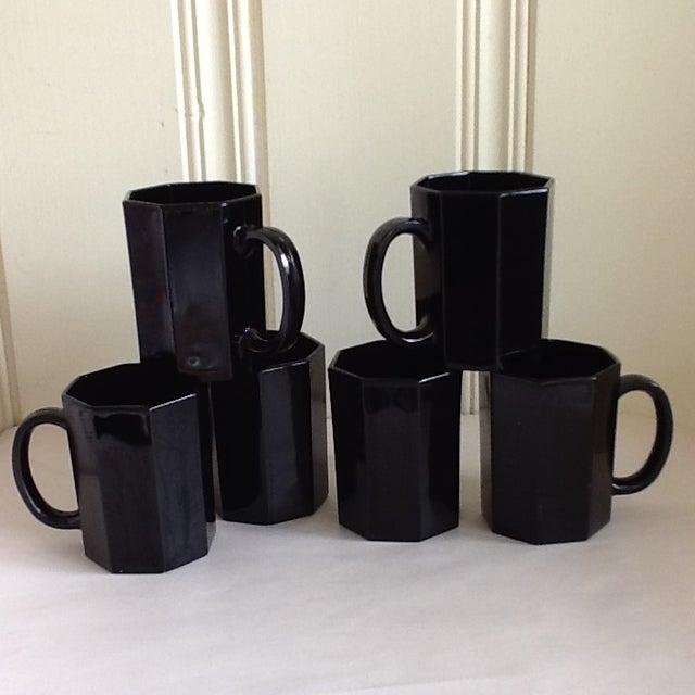 Black Ebony Ceramic French Mugs - Set of 6 For Sale - Image 8 of 11