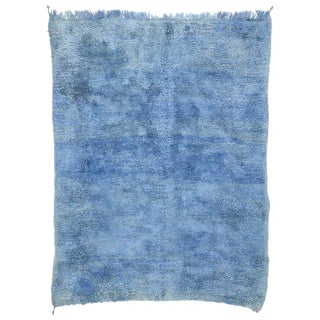 20th Century Blue Indigo Berber Moroccan Rug - 7′3″ × 9′4″ For Sale