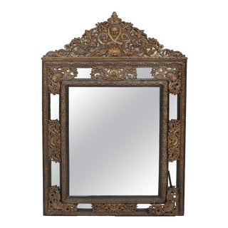 Baroque Style / Brass Embossed Beveled Wall Mirror For Sale
