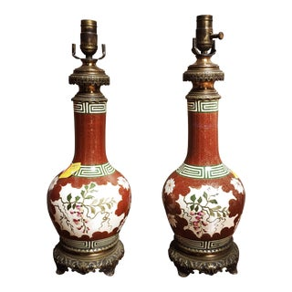 French Porcelain and Bronze Lamp Bases - a Pair For Sale