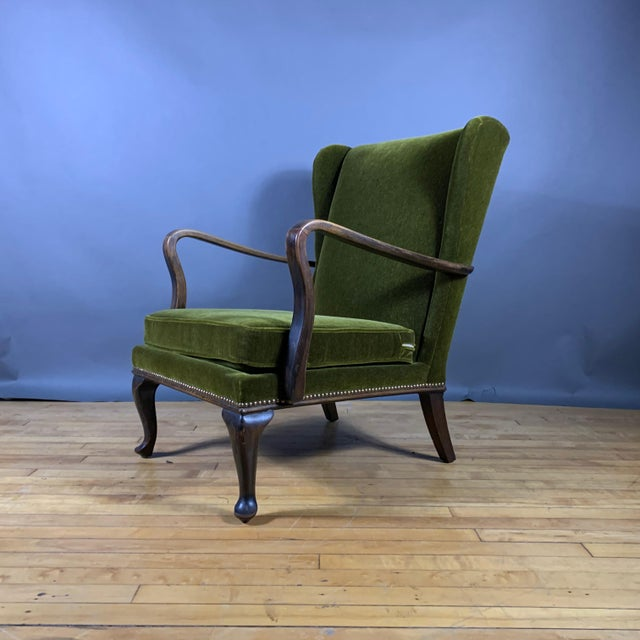 Wood 1950s Walter Knoll Mini Wingchair, Mohair, Germany For Sale - Image 7 of 12