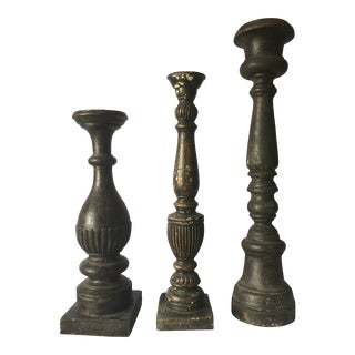 Antiqued British Colonial Style Wooden Candle Sticks - Set of 3 For Sale
