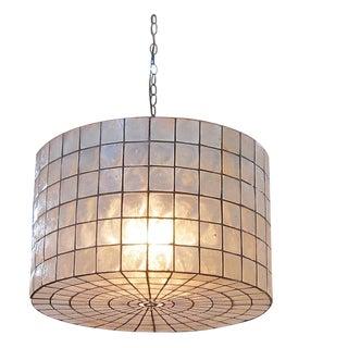 """Capiz Drum Lantern 24"""" For Sale"""