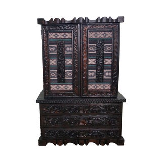 Witco Tiki Elvis Jungle Room Redwood Armoire For Sale