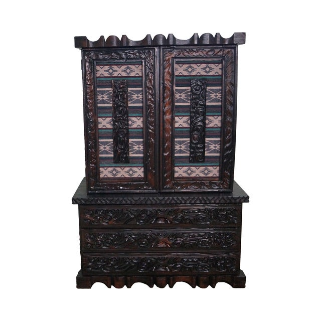 Witco Tiki Elvis Jungle Room Redwood Armoire - Image 1 of 10