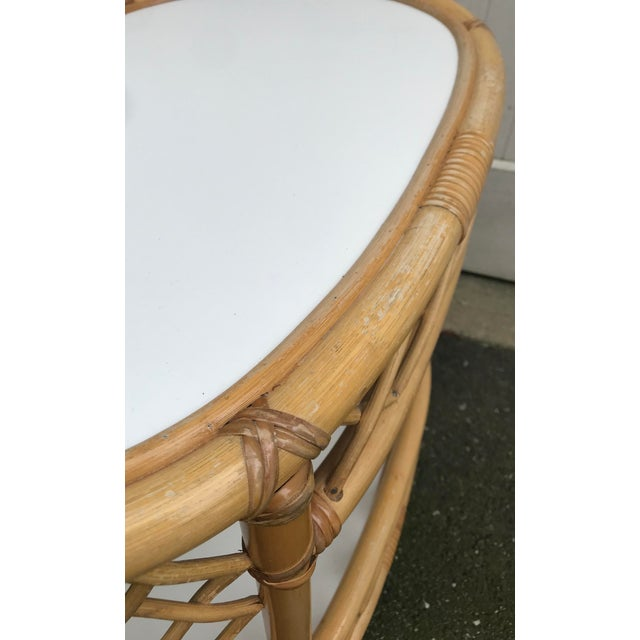 Boho Chic WIllow and Reed Oval Bamboo Side Table For Sale - Image 3 of 13