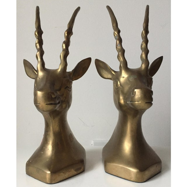 Vintage Large Brass African Deer Bookends - a Pair - Image 2 of 6