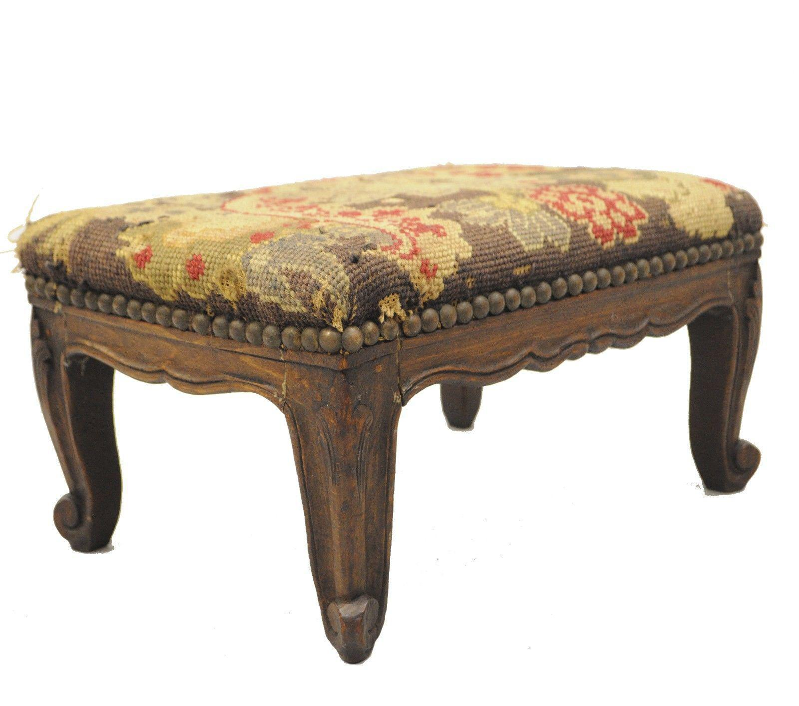 Small French Country Footstool Ottoman Petite Needlepoint Louis XV Carved  Walnut For Sale   Image 11