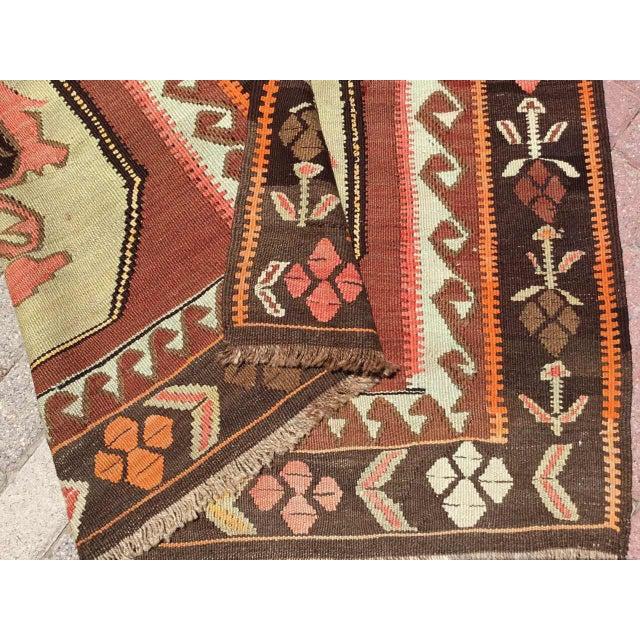 Vintage Turkish Kilim Rug For Sale - Image 10 of 11