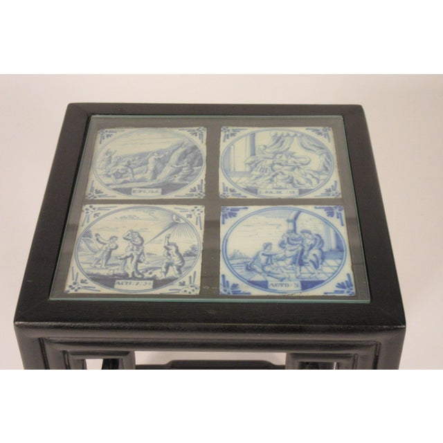 1960s Asian Side Table With Delft Tile For Sale In New York - Image 6 of 11