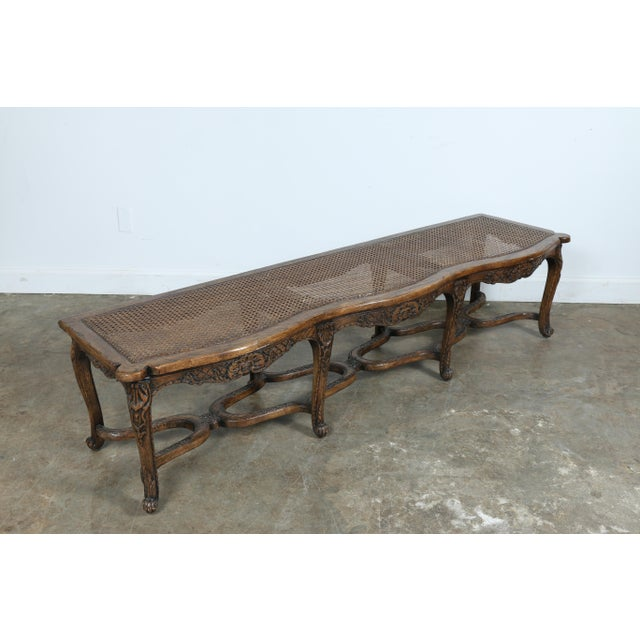 Italian Style Carved Wood Cane Seat Bench - Image 7 of 10