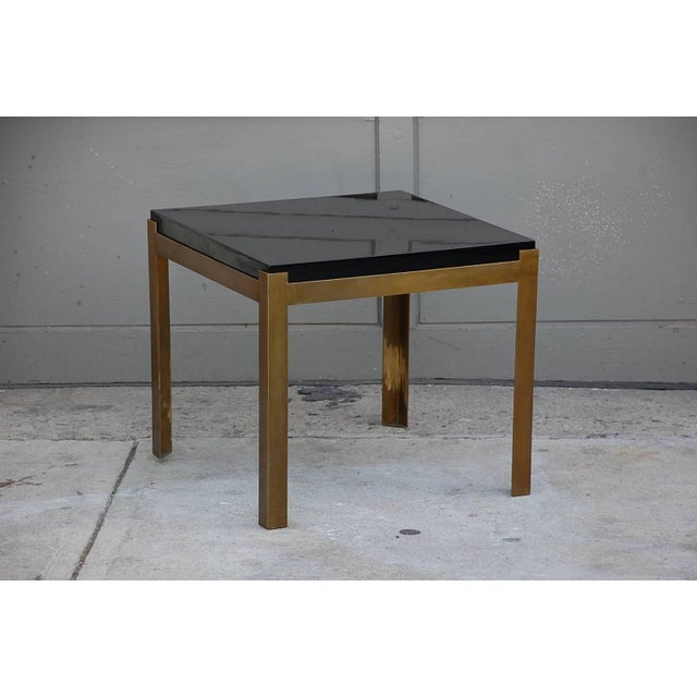 Modern Contemporary Design Frères 'Caisson' Lacquer and Patinated Brass Side Tables - a Pair For Sale - Image 3 of 7