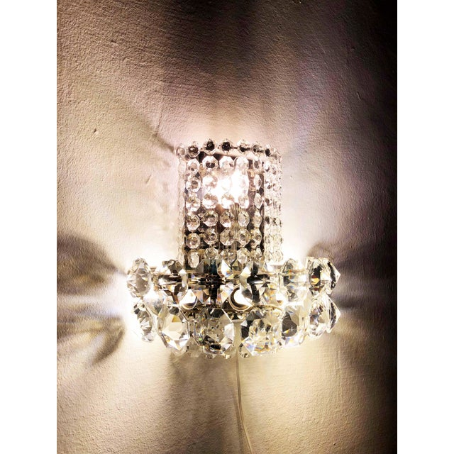 Metal Pair of Large Crystal Sconces by Bakalowits and Sohne For Sale - Image 7 of 13