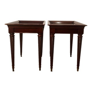 1980s English Mahogany Custom Side Tables - a Pair For Sale