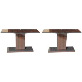 French Deco Exotic Macassar Ebony Consoles - Pair