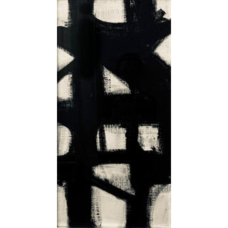 Vertical Franz Kline Inspired Original Black and White Framed Painting Preview