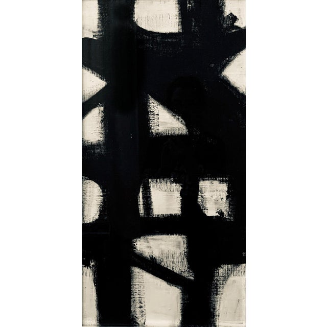This black and white acrylic painting is inspired by the work of Franz Kline and is framed in a vintage silver frame....