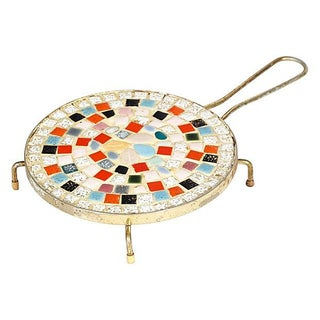 1950s Round Mosaic Tile Trivet