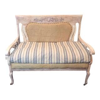 Antique Eastlake White & Blue Settee For Sale