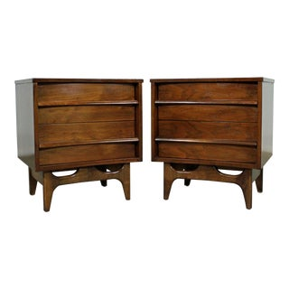 Pair of Mid-Century Modern Sculpted Concave Walnut Nightstands For Sale