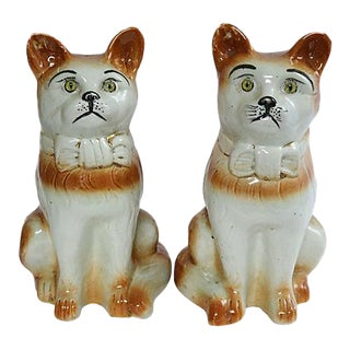 Antique Life Sized Staffordshire Cats