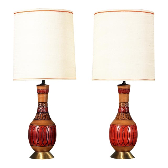 Vintage Royal Haeger Style Red Ceramic Table Lamps - Pair - Image 1 of 7