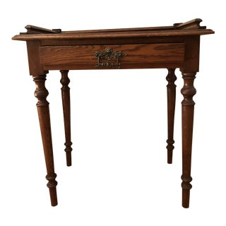 Antique English One-Drawer Oak End Table
