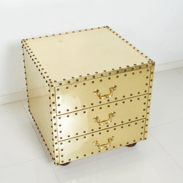 Metal Mid-Century Sarreid Spain Studded Brass Chest Three Drawer Nightstand For Sale - Image 7 of 8