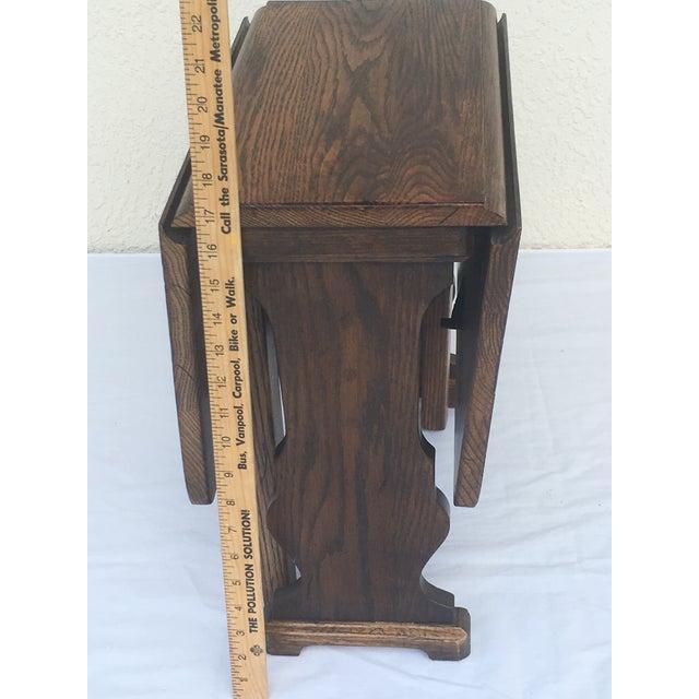Small Petite Mini Vintage Mid-Century Wood Drop Leaf Side Table For Sale - Image 4 of 13