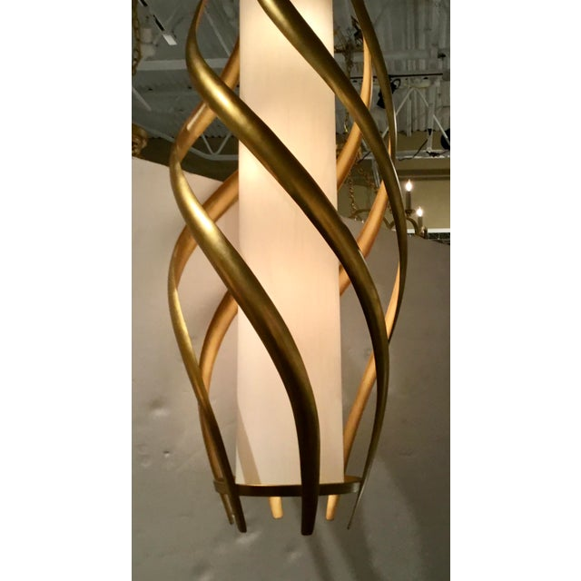 Contemporary Currey & Co. Modern Gold and White Trephine Pendant Light For Sale - Image 3 of 5