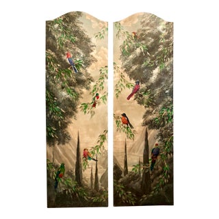 Italian Birds in the Forest Watercolor Painted Panels - Set of 2 For Sale