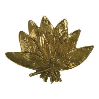 1950's Mid-Century Modern Virginia Metalcrafters Brass Sage Leaf Catchall/Tray For Sale