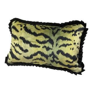 """Scalamandre """"Tigre"""" Green Velvet Pillow"""