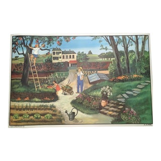 "Vintage French School Two-Sided Poster - ""Le Jardin/ L'Automne"" For Sale"