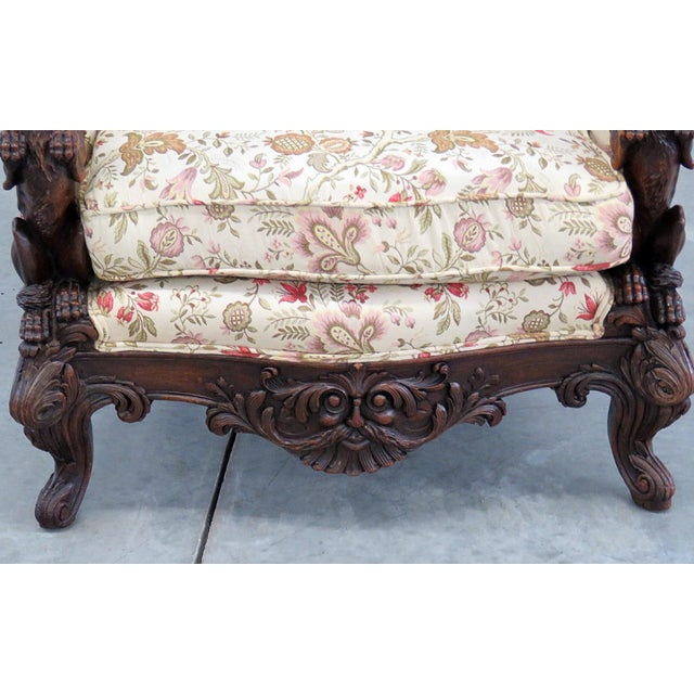 Traditional Carved Victorian Bergere For Sale - Image 3 of 11