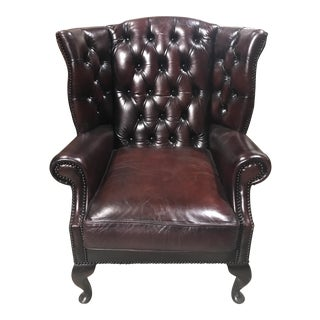 Vintage English Leather Wingback Chair