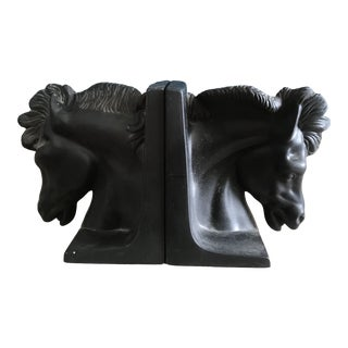 Black Horse Head Bookends, Signed and Dated - a Pair For Sale