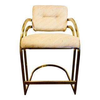 Mid Century Milo Baughman Style Cantilever Brass Bar Stool For Sale