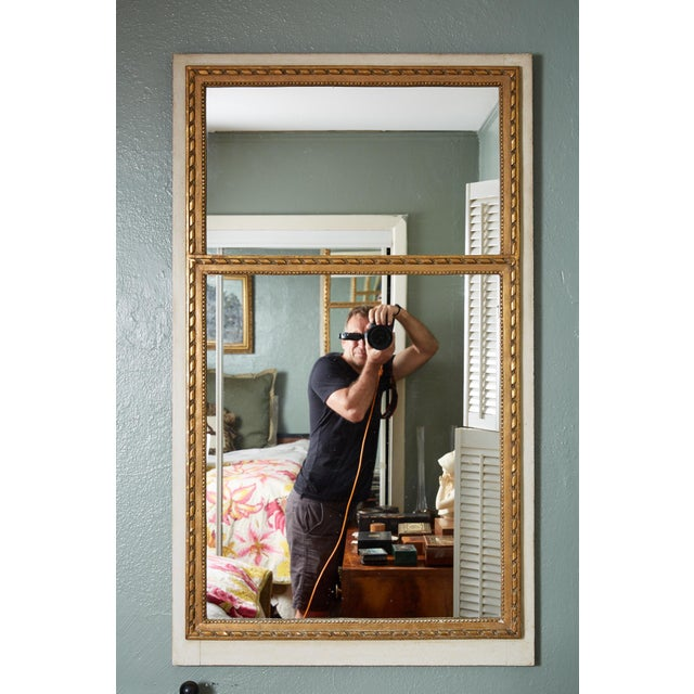 Gold French Louis XVI Trumeau Mirror in Gray and Gilt For Sale - Image 8 of 8