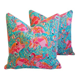 "Colorful Beach Poolside Tropical Pink Flamingo Feather/Down Pillows 24"" Square - a Pair For Sale"