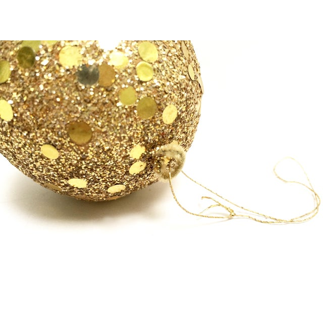 Vintage gold glitter Spangle ball ornaments - Set of 8 For Sale - Image 4 of 12