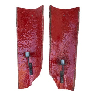 Anthropologie Rustic Red Roof Tile Wall Candle Sconces - a Pair For Sale