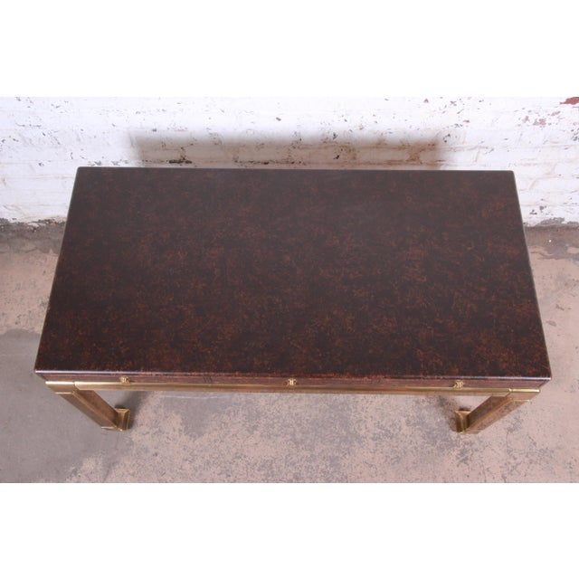 Mastercraft Hollywood Regency Chinoiserie Faux Tortoise Shell and Brass Writing Desk For Sale - Image 11 of 13