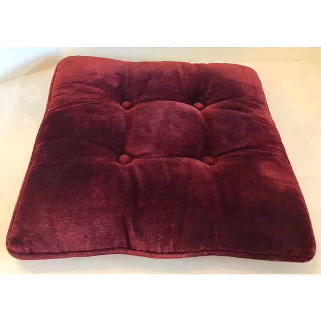 Vintage Mid-Century Red Velvet Square Tufted Pillow For Sale - Image 4 of 9