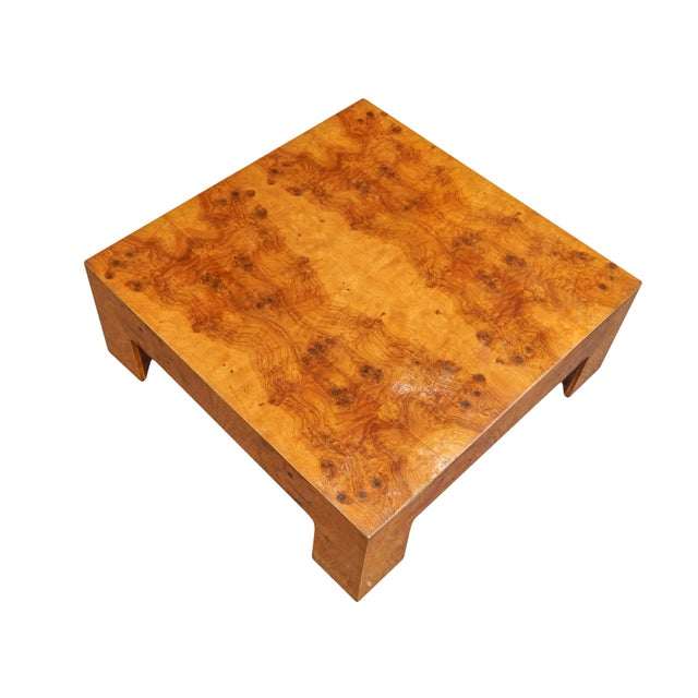 Mid-Century Modern Large Square Bookmarked Burl Veneer Coffee Table For Sale - Image 3 of 11